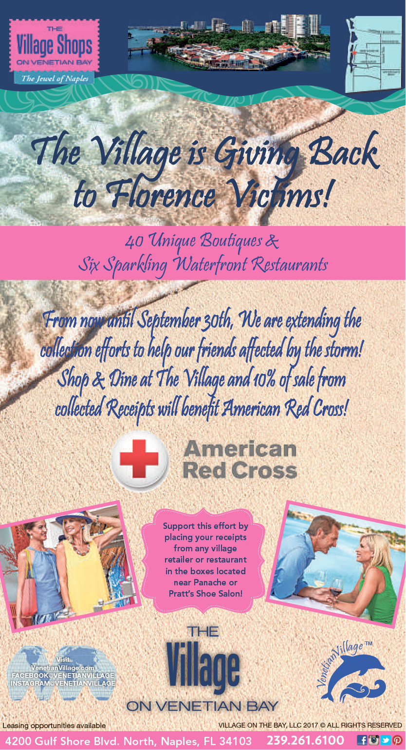The Village is Giving Back to Florence Victims | The Village Shops on Venetian Bay Shopping and Dining Destination