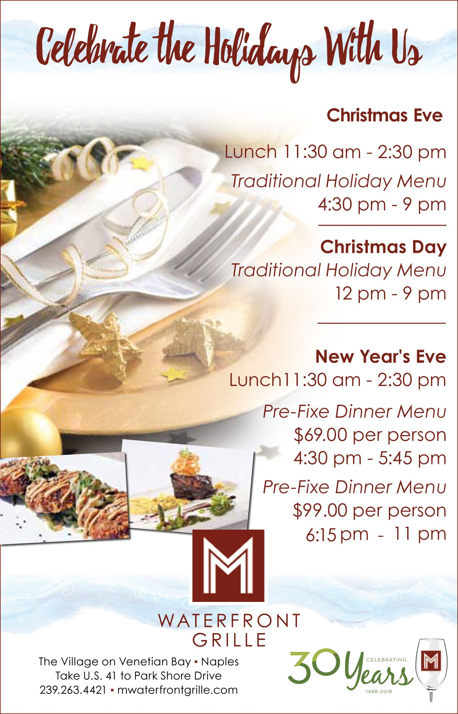 M Waterfront Grille Holiday Calendar