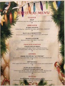 Fish Restaurant Christmas Menu