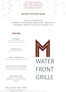 M Waterfront Grille New Year's Eve Menu, Waterfront Dining