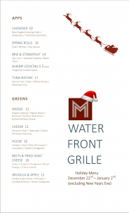 M Waterfront Grille Christmas Menu