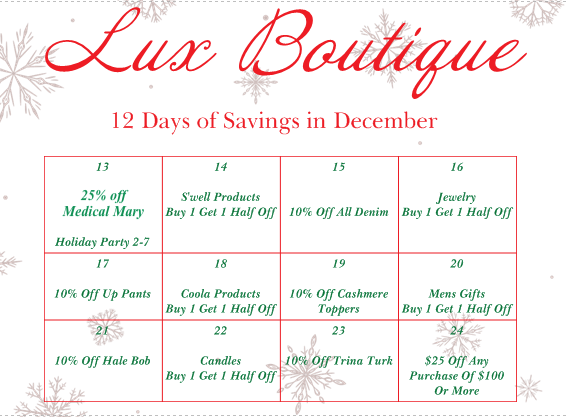 Lux Boutique 12 Days of Savings in December