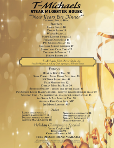 T-Michaels Steak & Lobster House New Year's Eve Menu