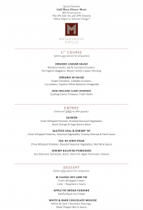 M Waterfront Grille's Gold Event Menu