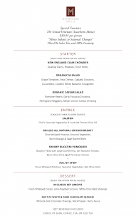 M Waterfront Grille's Grand Venetian Menu