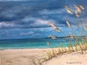 Kathy Anzeveno Caribbean Beach, Southwest Florida Pastel Society Pop-up Gallery at The Village Shops on Venetian Bay, Waterfront Shopping, Waterfront Art, Pastel Painting