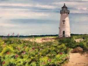 Kathy Anzeveo Edgartown Light, Southwest Florida Pastel Society Pop-up Gallery at The Village Shops on Venetian Bay, Waterfront Shopping, Waterfront Art, Pastel Painting