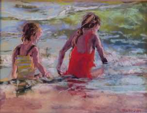 Marianne Crowley Bathing Beauties II, Southwest Florida Pastel Society Pop-up Gallery at The Village Shops on Venetian Bay, Waterfront Shopping, Waterfront Art, Pastel Painting