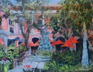 Marianne Crowley Jane's Cafe, Southwest Florida Pastel Society Pop-up Gallery at The Village Shops on Venetian Bay, Waterfront Shopping, Waterfront Art, Pastel Painting
