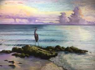 Maureen Gerrity Lonely Heron, Southwest Florida Pastel Society Pop-up Gallery at The Village Shops on Venetian Bay, Waterfront Shopping, Waterfront Art, Pastel Painting