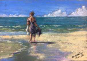 Maureen Gerrity Morning By The Sea, Southwest Florida Pastel Society Pop-up Gallery at The Village Shops on Venetian Bay, Waterfront Shopping, Waterfront Art, Pastel Painting