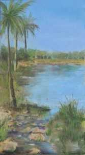 Pam Conrad Pond View, Southwest Florida Pastel Society Pop-up Gallery at The Village Shops on Venetian Bay, Waterfront Shopping, Waterfront Art, Pastel Painting