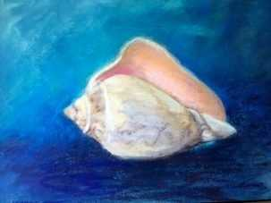 Patricia M. Gray Shell in Blue, Southwest Florida Pastel Society Pop-up Gallery at The Village Shops on Venetian Bay, Waterfront Shopping, Waterfront Art, Pastel Painting