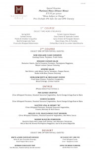 M Waterfront Grille Platinum Events Menu