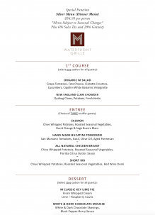M Waterfront Grille's Silver Events Menu