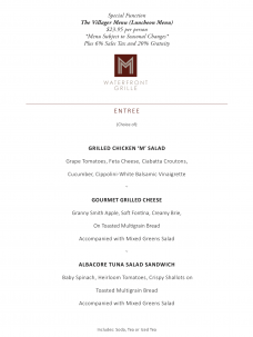 M Waterfront Grille's The Villager Menu
