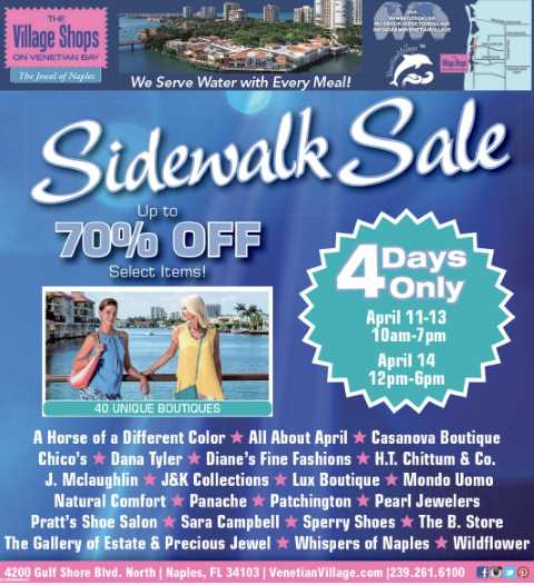 The Village Shops Spring Sidewalk Sale, Spring Savings, Naples Shopping, Shopping discounts